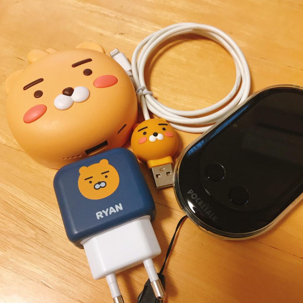 モバイルバッテリー、ポケトーク、USBケーブル、