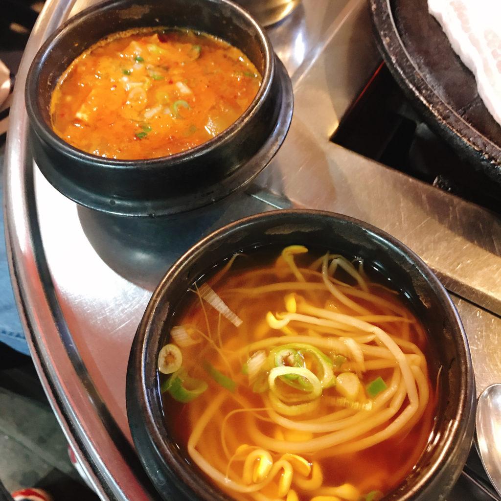 鍾路3街 焼肉通り クァンジュチッ チゲスープ もやしスープ