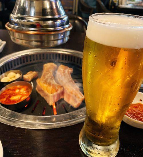 火砲食堂 市庁店  サムギョプサルとビール